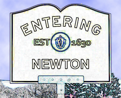 Entering Newton Massachusetts sign